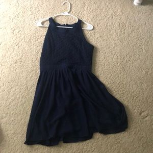 Navy blue with a floral patterned dress